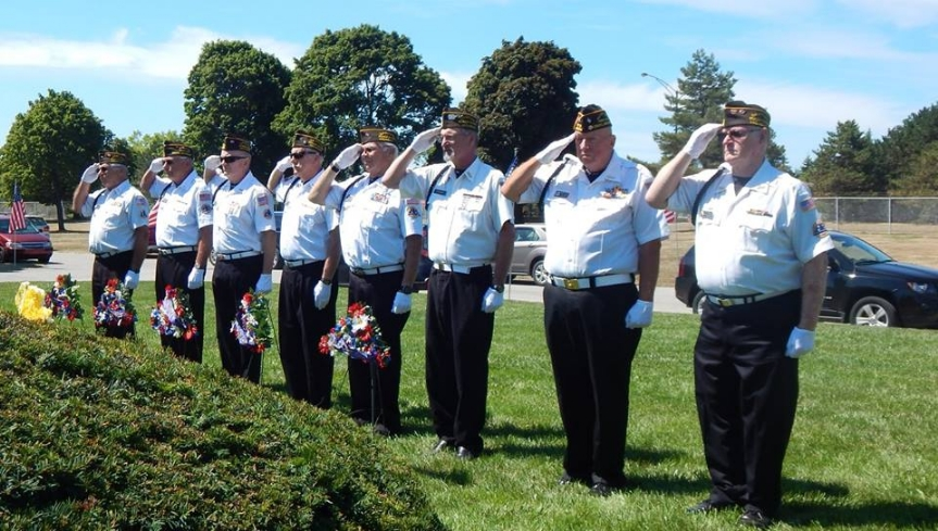 Honor Guard Present Arms During Playing of Taps at Gold Star Mothers Ceremony